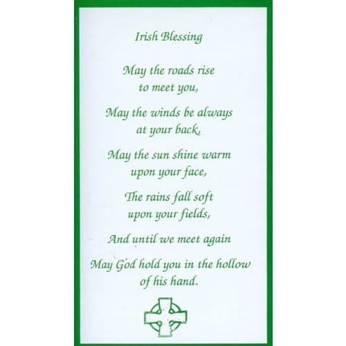 Irish Blessing Personalized Prayer Card Priced Per Card