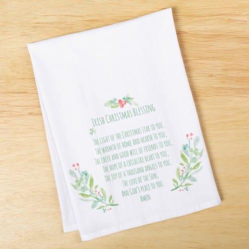 irish christmas blessing flour sack dish towel