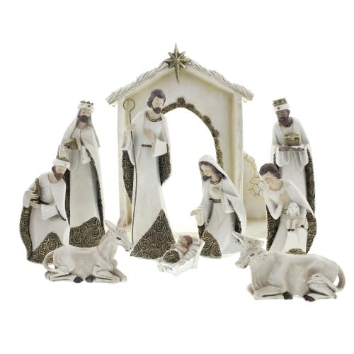 Ivory and gold nativity set the catholic company