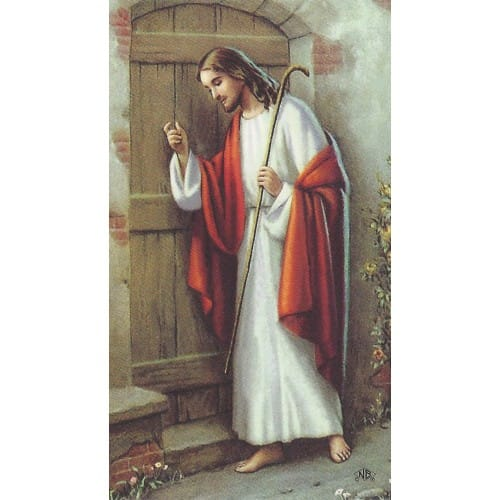 Jesus Knocking Personalized Prayer Card (Priced Per Card)
