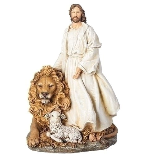 Jesus With Lion Lamb Statue The Catholic Company