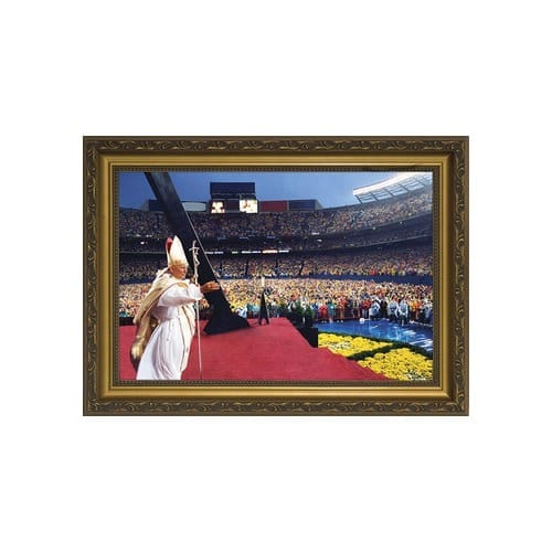 John Paul II Celebrating Mass at Giants Stadium w/ Gold Frame
