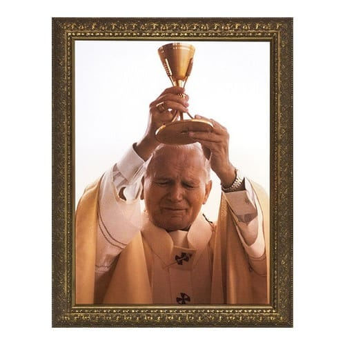 John Paul II with Chalice w/ Gold Frame (13x16)