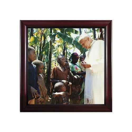John Paul II with Children in Cherry Frame (13x13)