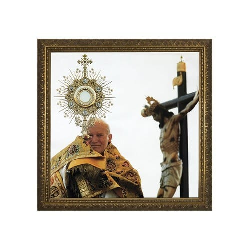 John Paul II with Monstrance w/ Gold Frame  (13x13)