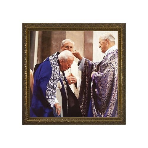 John Paul II Receiving Ashes w/ Gold Frame (13x13)