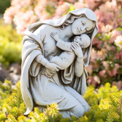 """Kneeling Madonna & Child Garden Statue 13.5"""""""