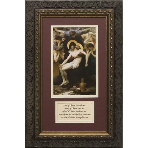 La Pieta Matted with Prayer in Dark Ornate Frame