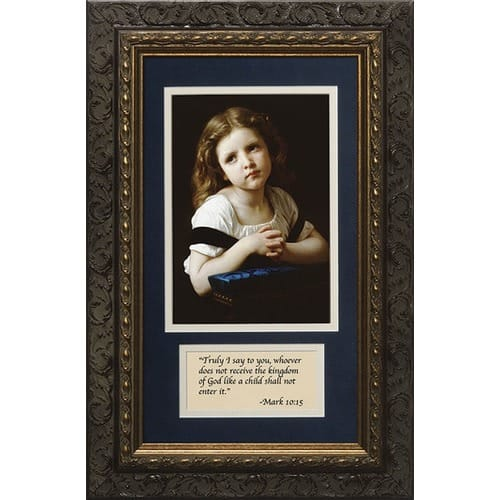 La Priere (Matted with Prayer in Dark Ornate Frame) 8x14