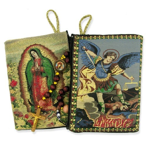 Our Lady  of Guadalupe & St Michael Two Sided Rosary Pouch