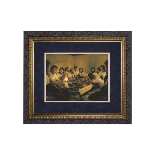 Last Supper (Matted w/ Dark Ornate Frame) 14x17