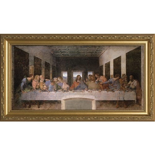 The Last Supper W Ornate Gold Frame 16x32 The Catholic Company