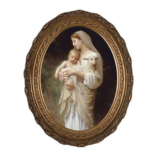 L'Innocence on Canvas w/ Gold Oval Frame