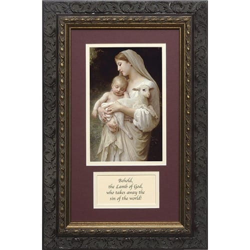 L'Innocence in Dark Ornate Frame (Matted with Prayer) 8x14