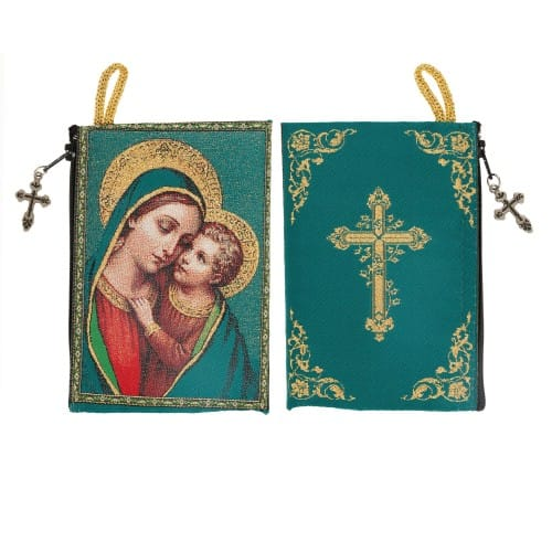 Madonna and Child Icon Rosary Pouch