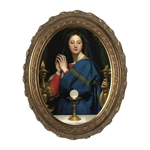 Madonna of the Host on Canvas w/ Gold Oval Frame