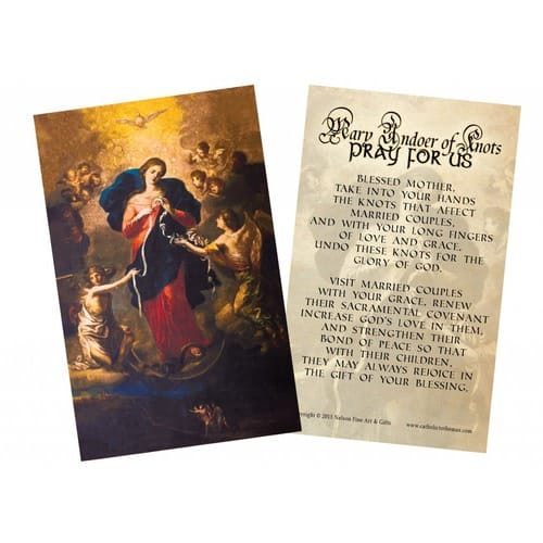 Mary Undoer of Knots Marriage Prayer Card, Pack of 50
