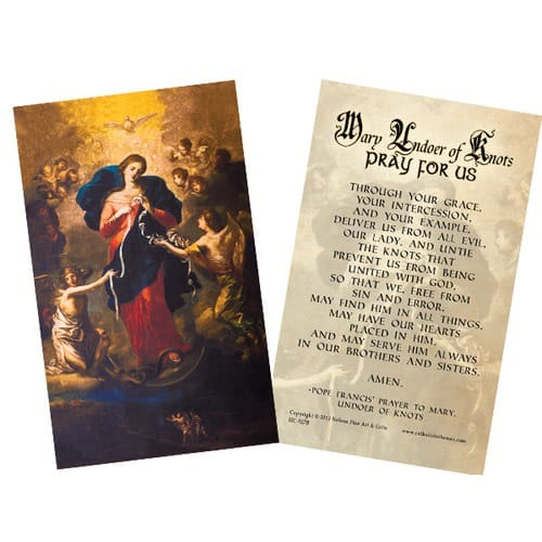 Mary Undoer of Knots Pope Francis' Prayer Card, Laminated Pack of 25