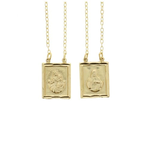 matte gold scapular necklace the catholic company