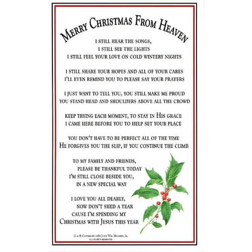 picture relating to Christmas in Heaven Poem Printable named Merry Xmas in opposition to Heaven Bookmark /Prayer Card (Pkg. of 25)