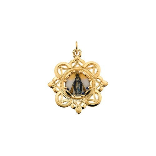 Milagrosa Framed Enamel Miraculous Medal Pendant-10K Yellow Gold (no chain)