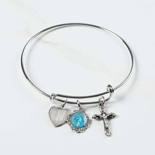 Miraculous Medal Bangle Bracelet with Engravable Heart