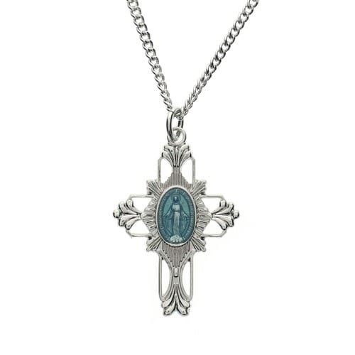 Miraculous Medal Cross Necklace