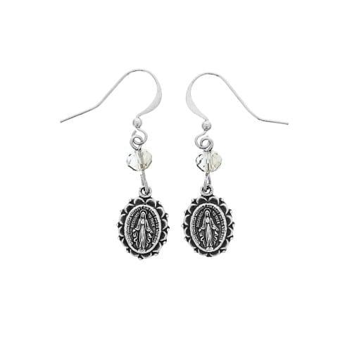 Miraculous Medal Crystal Earrings