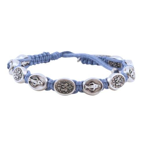 Miraculous Medal Macrame Bracelet Blue The Catholic Company