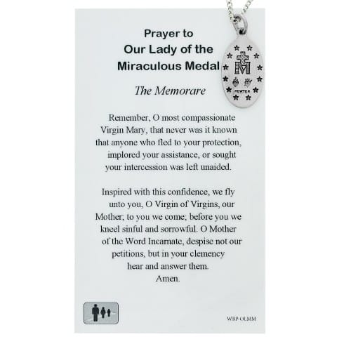 Miraculous Medal Prayer Card w/ Medal on 18 inch chain