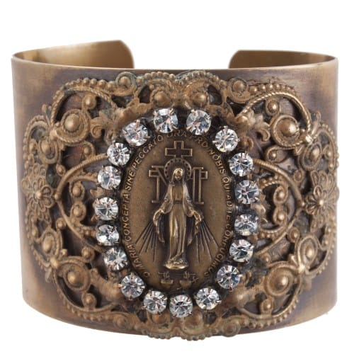 Miraculous Medal Swarovski Crystals Cuff Bracelet
