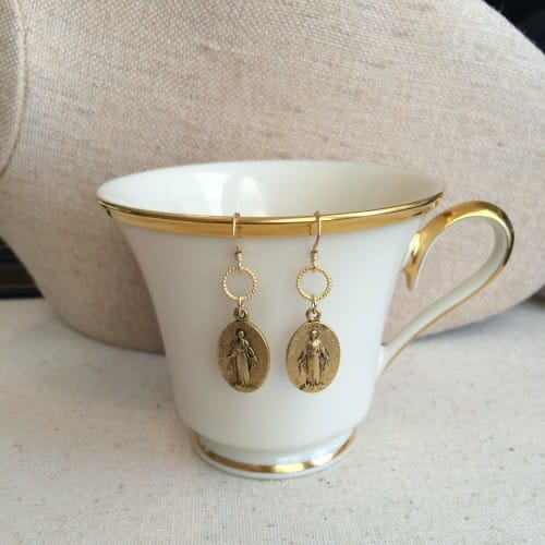 Miraculous Medal Vintage Gold Earrings