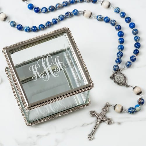Mother Teresa Rosary with Monogrammed Glass Rosary Box