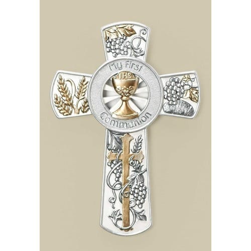 Multi-Tone Grapes & Wheat First Communion Wall Cross