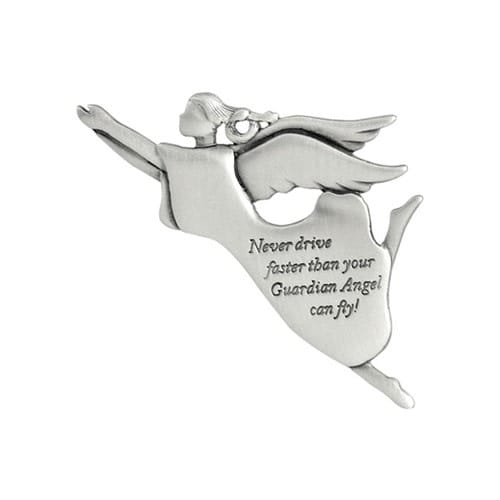 Never Drive Faster Than Your Angel Visor Clip