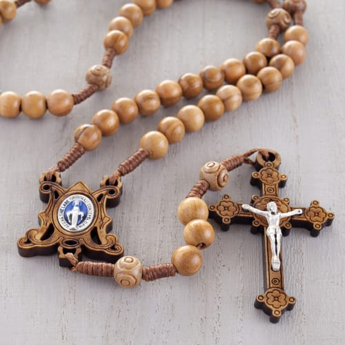 Olive Wood Corded Miraculous Medal Rosary