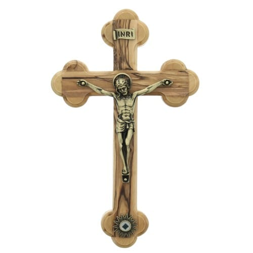 Olive Wood Crucifix with Relic