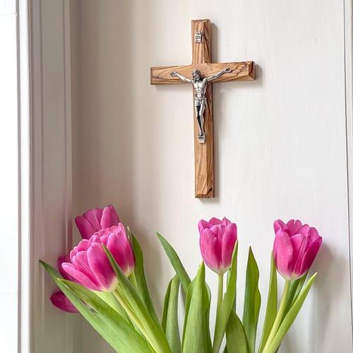 Olive Wood Plain Crucifix | The Catholic Company