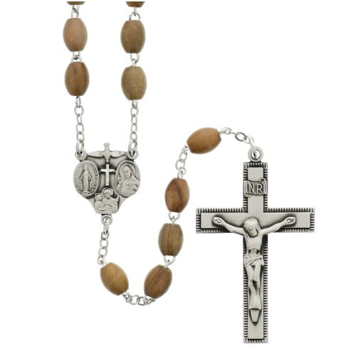 Olivewood Rosary - SS 4X6MM