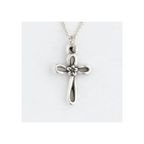 Open Cross w/Flower S/S Children's Pendant
