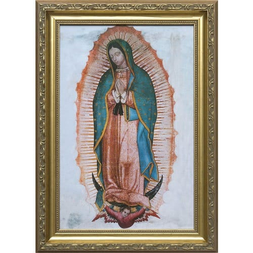 Our Lady Of Guadalupe Gold Frame 12x 18 The Catholic Company