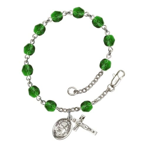 Our Lady Of Lourdes Green May Rosary Bracelet 6mm
