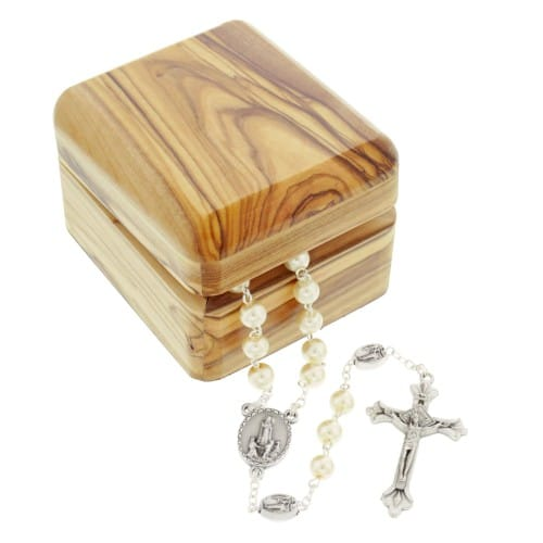 Our Lady of Fatima Olivewood Box & Rosary