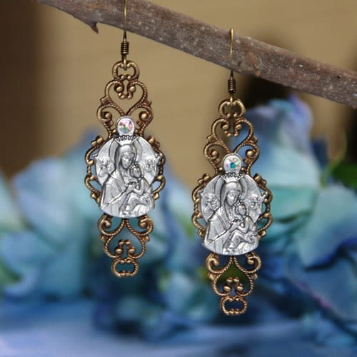 Our Lady of Perpetual Help Filigree Earrings