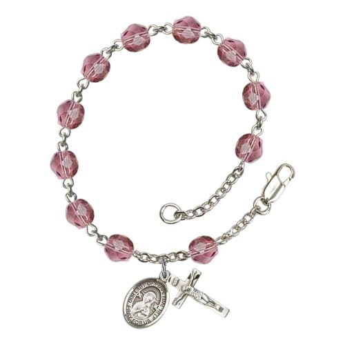 Our Lady Of Perpetual Help Purple February Rosary Bracelet 6mm