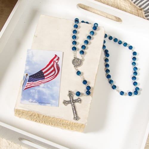 Patriotic Novena Prayer Card & Marbled Blue and Green Rosary (Gift Set)