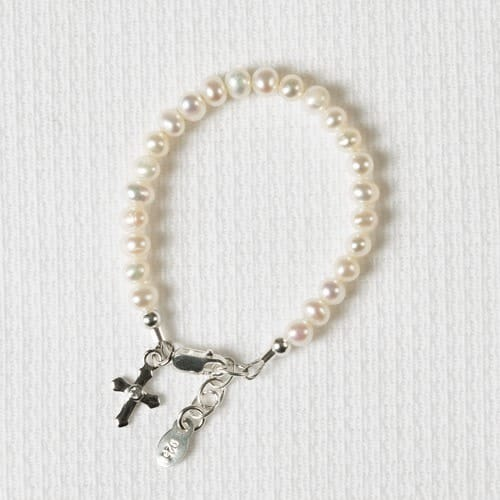 Pearl Cross Baby Baptism Bracelet