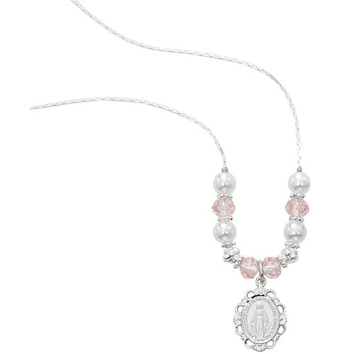 Pearl & Pink Crystal Miraculous Medal Necklace