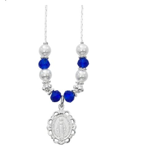 Pearl & Sapphire Crystal Miraculous Medal Necklace