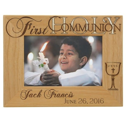 personalized first communion wooden frame the catholic company